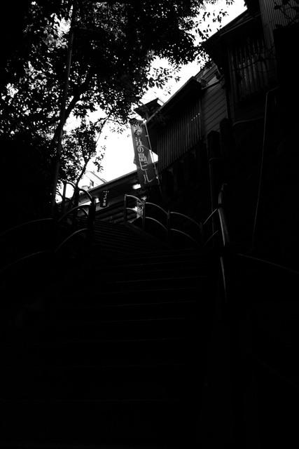 階段の上に…
