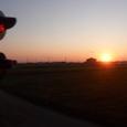 夕日の車窓から